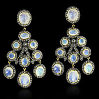 Rainbow Moonstone 6.99ct Pave Diamond Sterling Silver Chandelier Earrings Gold