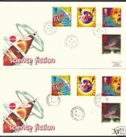 1995 SCIENCE FICTION SET ON FDC X 2 WITH CDS CANCELS