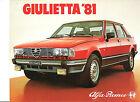 ALFA ROMEO GIULIETTA 1981 // catalogue brochure dépliant prospekt catalog folder