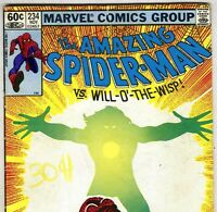 The Amazing Spider-Man #234 vs Will-O'-The-Wisp from Nov. 1982 in VG- condition