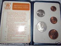 UK 1st Decimal Coin Set Elizabeth II Royal Mint Family Old Vintage Retro Silver
