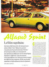 ALFASUD SPRINT - 1976 1989 / 1995 ARTICLE PRESSE REPORTAGE COUPURE MAGAZINE