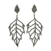 2.97ct Natural Diamond Pave Leaf Dangle Earrings  14k Gold 925 Silver Jewelry
