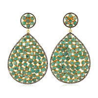 Pave Diamond 38.35ct Bezel Set Emerald Sterling Silver Drop/Dangle Earrings