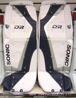 "New DR X5 ice hockey Goalie pads White/Silver/Blue 28"" Jr. junior goal leg pad"