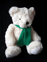 """SOFT PLUSH CREAM TRADITIONAL TEDDY BEAR COMFORTER TOY 15"""" TALL EX CONDITION"""