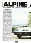ALPINE A 310 V6 - 1976 1984 / 1987 ARTICLE PRESSE REPORTAGE COUPURE MAGAZINE