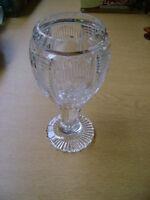GOBLET SHAPED  CRYSTAL GLASS POSY VASE  PANELLED SIDES