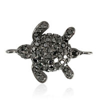 Black Diamond Pave Turtle Connector Finding 925 Sterling Silver Handmade Jewelry