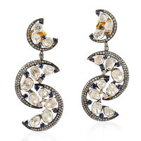 Crescent Moon Gold Earrings Sterling Silver Sapphire Rose Cut Diamond Jewelry