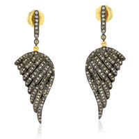 Angel Wing Style Pave Diamond 18k Gold 925 Sterling Silver Drop Dangle Earrings