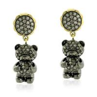 Pave Diamond 14k Gold Teddy Bear Dangle Earrings .925 Sterling Silver Jewelry