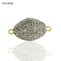 Pave Diamond Connector Finding 18k Gold 925 Sterling Silver Handmade Jewelry