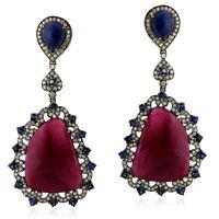 18kt Gold Pave Diamond Sapphire Ruby Dangle Earrings 925 Sterling Silver Jewelry
