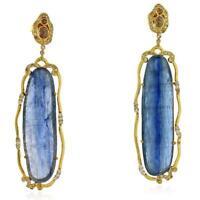 40.15 Ct Kyanite Pave Diamond 18k Gold Dangle Earrings Designer Fashion Jewelry