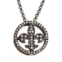 0.37ct Pave Diamond Fleur De Lis Pendant .925 Sterling Silver Jewelry