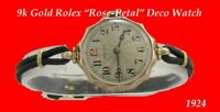 Vintage  Pretty  Floral Shaped 9k Gold Rolex Deco Ladies Wrist Watch 1924