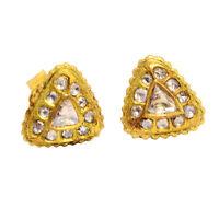 0.95ct Diamond 18k Yellow Gold Stud Earrings Designer Handmade Jewelry