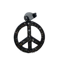 Pave Diamond 925 Sterling Silver Peace Sign Charm Pendant Vintage Jewelry