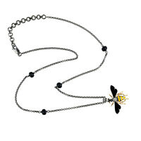 Sterling Silver 0.05ct Pave Diamond Black Onyx Beads Honey Bee Pendant Necklace