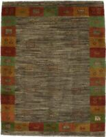 Hand Knotted Tribal Design 4X5 Gabbeh Persian Rug Oriental Home Décor Carpet
