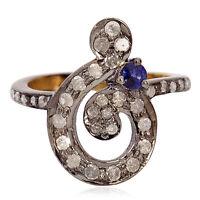 925 Silver 0.33ct Pave Diamond Blue Sapphire Designer Midi Ring 18k Gold Jewelry