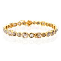 18k Solid Yellow Gold 9.45ct Slice Diamond Bangle Bracelet Designer Jewelry