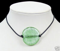 PALE GREEN murano GLASS BEAD pendant NECKLACE leather