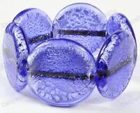 DARK BLUE heavy CHUNKY MURANO foil GLASS BRACELET