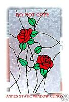 ROSE PANEL WINDOW CLING SUN CATCHER STAINED GLASS EFFECT DOOR DECAL MOTIF