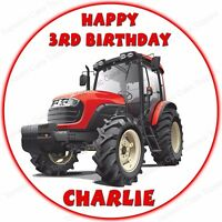 Personalised Red Farm Tractor Edible Icing Cake Topper