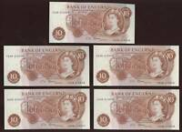 BANKNOTES GB 1967 FFORDE 10/- A30N UNC...5 CONSEC.NOTES