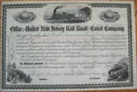 1903 Stock Certificate: 'United New Jersey Railroad/Rail Road & Canal Co.' - NJ