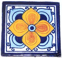 C115) 9 Ceramic Handmade Mexican Talavera Tile Folk Art