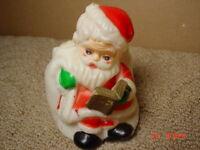 Vintage Santa Claus Candy Holder Hong Kong Read Plastic