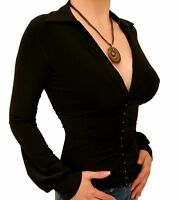 New Black Corset Style Stretchy Top / Blouse - Long Sleeve