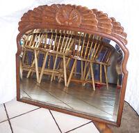 Quartersawn Oak Shell Carved Decorative Wall Mirror  (MR50)
