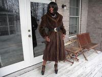 Drk brown Custom Full Length mink fur coat jacket S-M