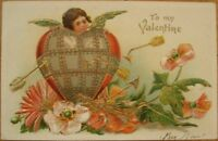 1910 Embossed Litho Valentine Postcard, w/Armored Heart