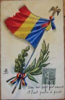 1920 French Hand-Drawn / Original Art PC: Flag & Ribbon