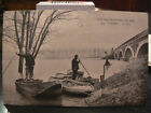 cpa 77 vaires inondations 1910 le pont barques animee