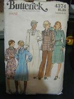 Vintage Butterick #4374 Dress/Top/Skirt Pattern-Size 12