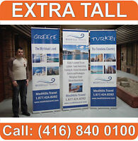 "3 UNITS - 96"" EXTRATALL Trade Show Retractable Banner Roll Up Stand + FREE PRINT"