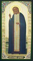 "Russian wood icon St Seraphim Sarov  Gold Foil Icon 5""x2 5/8"""