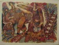 THEO TOBIASSE, Jour de Fete litho on paper; NEW PRICE