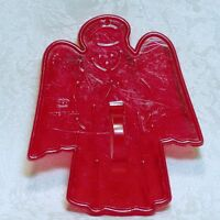 HRM Vintage Red Plastic Cookie Cutter - Christmas Caroling Angel w/ Halo Church