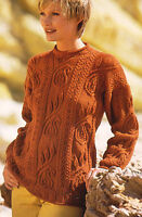 "Ladies Paisley Pattern & Leaf Aran Style Sweater Knitting Pattern 32"" - 46"" DK"