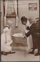 X1456 Doctor visits sick baby postcard, Real photo, EAS858, Used 1910