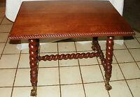 Solid Quartersawn Oak Merklen Carved Center Table Parlor Table  (T391)