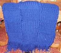 Dark Blue Knitted Afghan Throw Blanket